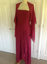 MONSOON stunning deep pinky red 100% SILK maxi eve dress & wrap UK 14