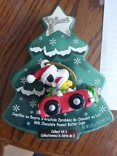 Peanuts Snoopy Whitman Christmas Set of 2 Ornaments w/Containers 90's Cute!