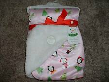 My First Christmas Baby Blanket Snow Fun Girl Infant Holiday NWT NEW Pink Sherpa