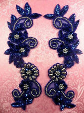 "0183 Royal Blue Silver Mirror Pair Sequin Beaded Appliques 10"" Set Floral"