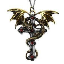 Crux Dragana Dragon Cross Pendant Necklace Carpe Noctum Anne Stokes CA02