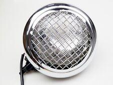 Black/Chrome Mesh Grill Retro Billet Steel Headlight Streetfighter Cafe Racer