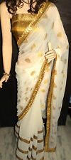 Boutiqe made Saree White Half-Half with Latest Golden Border & Golden Blouse