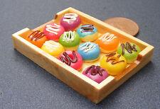 1:12 Helado Donuts en de madera Bandeja Casa de muñecas en miniatura panadería Accesorio by9