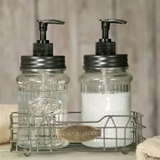 Primitive/Farmhouse/Cottage Hoosier Soap & Lotion Jar Dispenser w/ Wire Caddy