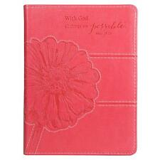 With God All Things Are Possible Pink Floral Journal (2013, Flexcover)