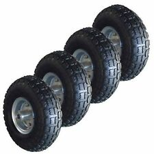 "4 x 10"" REPLACEMENT TYRES PNEUMATIC TROLLEY WHEEL BARROW CART TRUCK SACK BLACK"