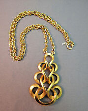 """VTG Crown Trifari Necklace Pendant Chain Gold Plated Scrolls Couture 24"""" Long"""