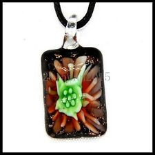 Fashion Women's long lampwork Murano art glass beaded pendant necklace #A193