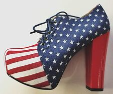 "Stars & Stripes Red & Blue 5"" high heels Lace ups, brand new, size 5 UK, 38 EU."