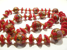 Beautiful Deep Red Venetian Wedding Cake Glass Necklace
