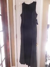CHAPS Size 16 BLACK LONG DRESS Sleeveless EVENING GOWN