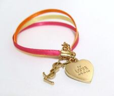 NEW Auth YSL Yves Saint Laurent In Love Again Ribbon Logo Gold Charm Bracelet