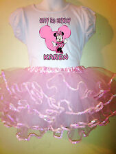 Minnie Mouse Birthday Dress Name & number Pink  2 pc tutu 1T,2T,3T,4T,5T,6T,7T.8