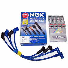 GENUINE NGK MAZDA RX8 SPARK PLUGS x 4 & NGK SILICON IGNITION LEAD WIRES