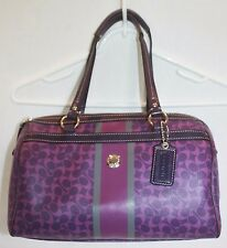 Coach Chelsea Heritage Purple Signature Coated Canvas Satchel Handbag Bag F15132