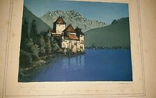 Leon Veuls Original Early 20thC Aquatint Etching Chillon Switzerland Lake Geneva