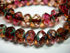 25 8x6mm Pink and Purple Travertine Czech Fire polished Rondelle beads