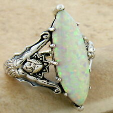 GODDESS RING WHITE LAB OPAL VICTORIAN 925 STERLING SILVER SIZE 7.75,        #615
