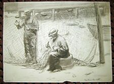 """Antique Signed Charcoal Drawing Mending the Net Fishermen Working 1800s 12"""" x 8"""""""