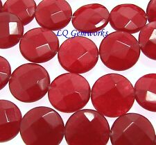 "15.5"" Strand RUBY RED JADE 12mm Faceted Coin Beads BOGO"