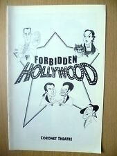 Coronet Theatre Programme- FORBIDDEN HOLLYWOOD by Gerard Alessandrini