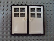 Lego Minifig ~ Lot Of 2 White Door w/Black Frame 1x4 / House City Town Double #z