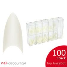 100St. Tipbox STILETTO natur Tipkasten künstliche Fingernägel NAILS spitze