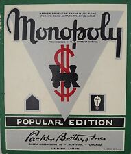 VINTAGE RARE 1940's MONOPOLY POPULAR EDITION BOARD GAME PARKERS BROTHERS