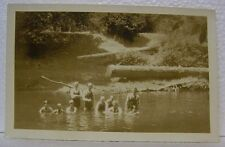 VINTAGE RPPC PHOTO NORTH BEND COOS BAY OREGON PEOPLE SWIMMING SWIM SUIT POSTCARD