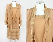 VTG 1920s NUDE SILK CHIFFON & LACE FLAPPER AFTERNOON DRESS + SLIP SZ S
