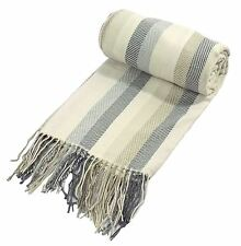 LUXURIOUS SOFT SILVER GREY CREAM BEIGE CHEVRON STRIPE THROW BLANKET 130 X 190CM