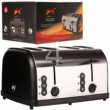 Ovation 4 Slice Black & Chrome Electric Bread Toaster With Sliding Crumb Tray