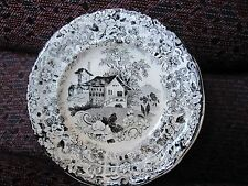 Staffordshire Transferware Black Genevese Cup Plate by Minton Scenic 1822-36