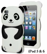 For iPod Touch 5th & 6th Gen - SOFT SILICONE RUBBER CASE COVER BLACK WHITE PANDA