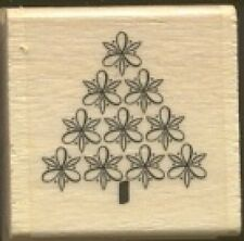 PINE TREE FLORAL DECOR Design Holiday Gift Tag NEW Wood Mount Craft RUBBER STAMP
