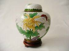 Vintage Oriental / Chinese Cloisonne Ginger Jar - Floral & Butterfly Decoration