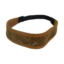 Soft Tan Suede Headband Snakeskin Pattern Girls Hairband Headwrap w/elastic
