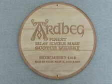 "ARDBEG Scotch Whiskey 12"" Round Wood Sign Barrel Cask Top Style"