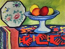 AUGUST MACKE STILL LIFE WITH APPLE PEEL A JAPANESE FAN ART PAINTING PRINT 316OMA