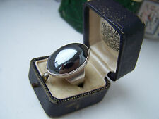 GORGEOUS OVERSIZED VINTAGE MODERNIST STERLING HEMATITE RING ADJUSTABLE GOTH RARE