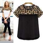 Korean Fashion Womens Lady Top Casual Short Sleeve Leopard T-shirt Blouse