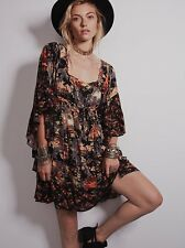Free People Heart Of Gold Black Floral Boho Mini Festival Dress NWT XS Rare