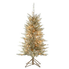 Silver & Gold 4 FT Tinsel Tree w/ 150 mini Lights Christmas Decor NEW IN BOX