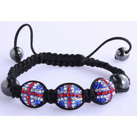 Ladies Union Jack Shamballa Bracelet Women Disco Ball Beautiful Friendship Beads