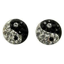 Pair Of Sterling Silver  925  Sparkly Ying Yang Ear Stud Earrings !!   New !!