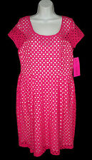 NEW Betsey Johnson 14 Dress Eyelet laser Cut Pink White Cotton NWT