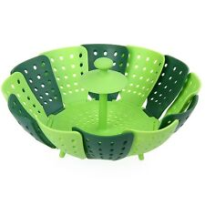 Silicone Folding Non-scratch Food Cooking Steamer Fruit Vegetable Basket plate