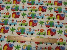 2 Yards Multicolor Animals Riding in Trucks/Cars/Campers Flannel Fabric