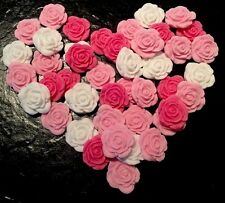 12 SALE PINK MIX EDIBLE MINI ROSES CUPCAKE/CAKE DECORATIONS, SUGARPASTE FLOWERS